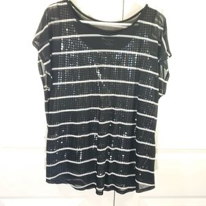 Lane Bryant Sequin With Sheer Striped Overlay